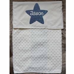 Baby deken bedrukt met naam in ster