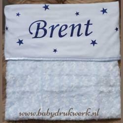 Baby deken bedrukt met naam en sterretjes