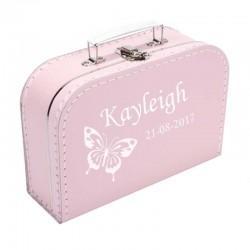 Koffer bedrukt met vlinder en naam