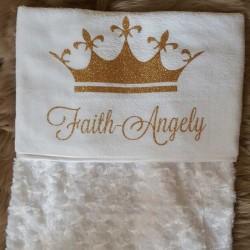 Baby deken bedrukt met naam en kroon
